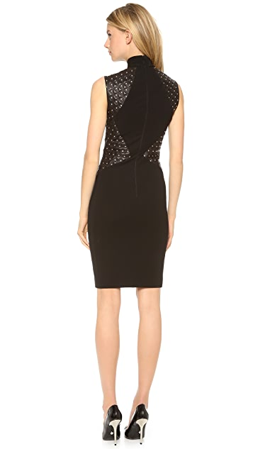 Versace Quilted Leather Dress with Mock Neck