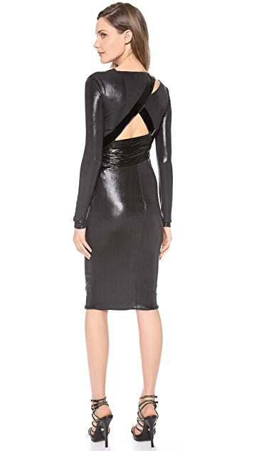 Versace Long Sleeve Ruched Dress
