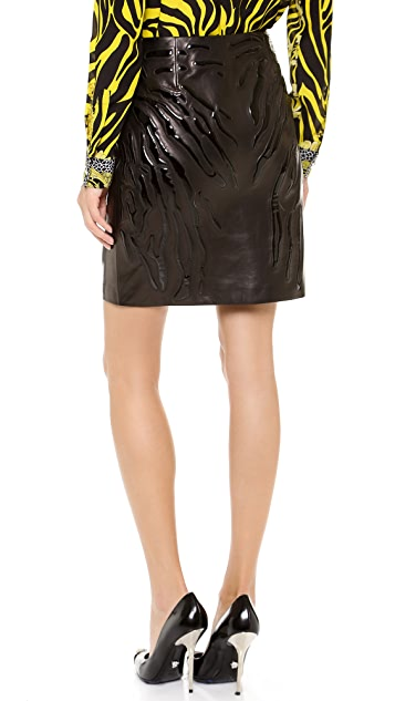 Versace Leather Skirt with Tiger Patent