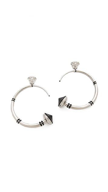 Versace Horn Stone Hoop Earrings