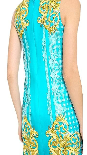 Versace Sleeveless Gingham Paisley Dress