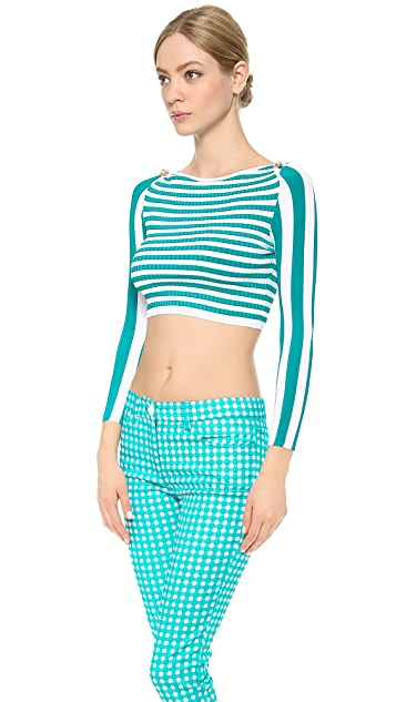 Versace Striped Cropped Sweater