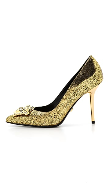 Versace Gold Medusa Pumps