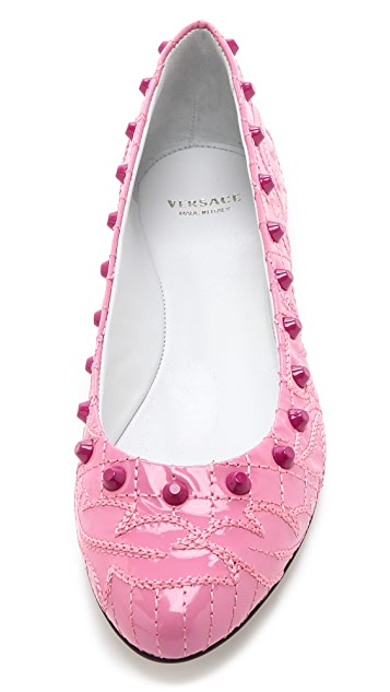 Versace Quilted Patent Studded Flats