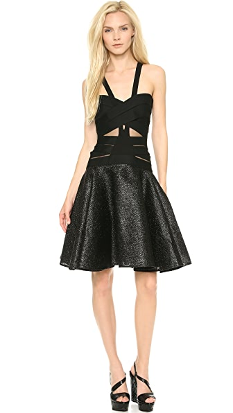 Versace Crisscross Full Skirt Dress