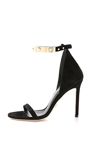 Versace Ankle Strap Suede Sandals