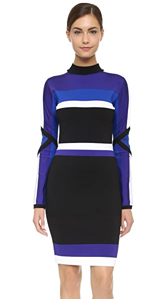 Shop Versace online and buy Versace Long Sleeve Knit Dress Black-Blue-White dresses online