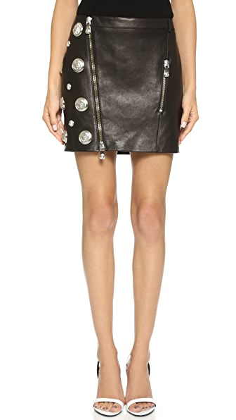 Versus Medusa Stud Leather Miniskirt | SHOPBOP