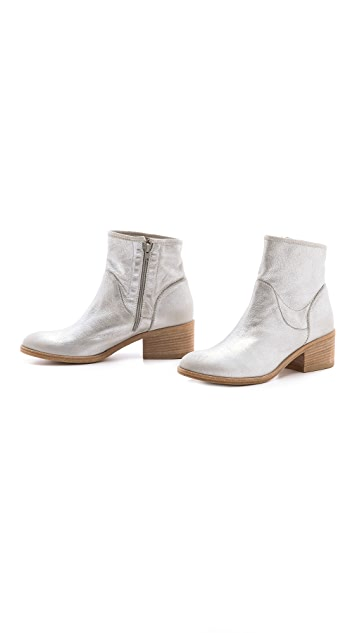 Vic Italy Metallic Stacked Heel Ankle Booties