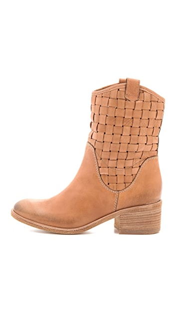Vic Italy Stacked Heel Woven Booties