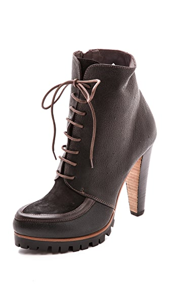 Vic Italy Lace up Lug Sole Booties