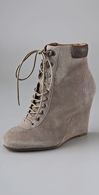 Pour La Victoire Lang Suede Wedge Booties