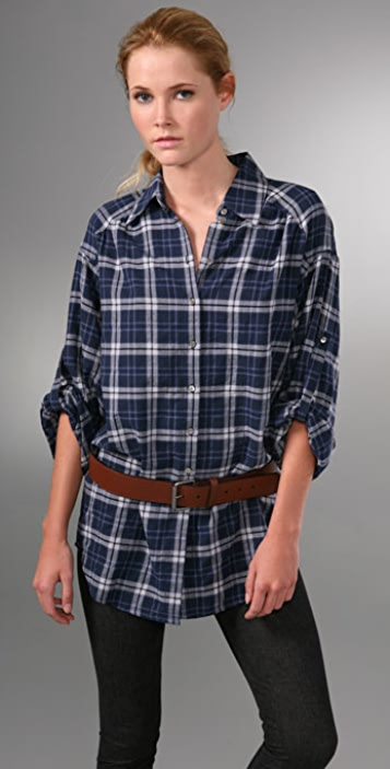 Vince Oversized Plaid Shirt with Rolled Sleeves