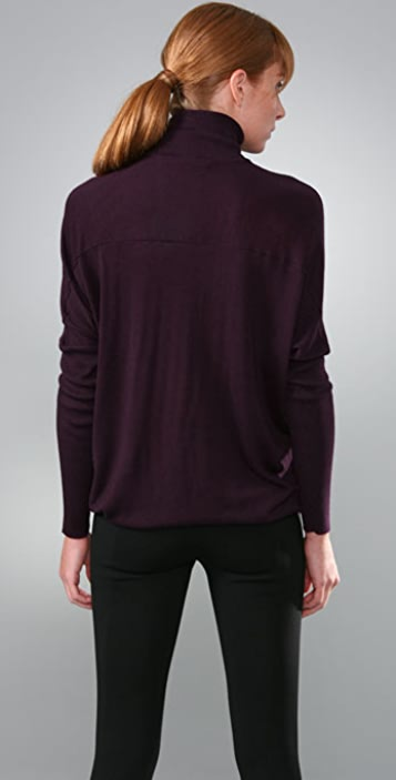 Vince Oversized Cashmere Turtleneck with Ribbed Sleeves