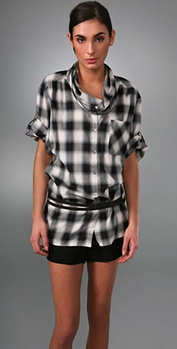 Vince Roll Sleeve Cowl Neck Plaid Top
