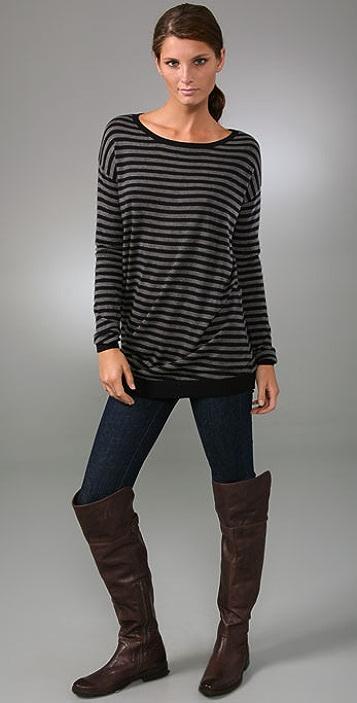 Vince Striped Asymmetrical Sweater