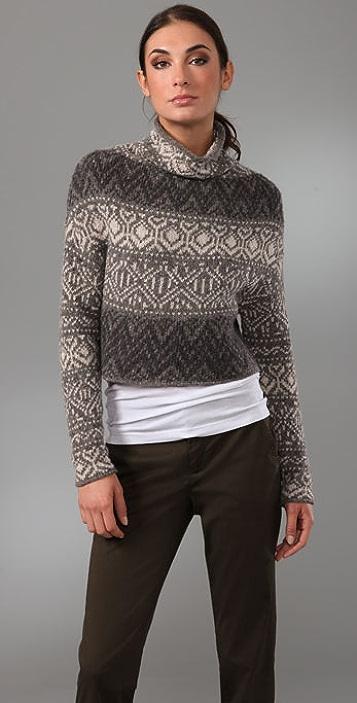 Vince Crop Intarsia Sweater