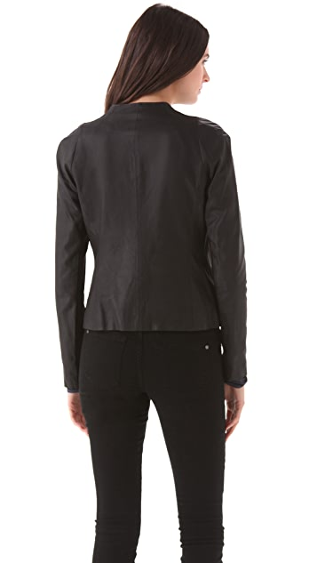 Vince Crew Neck Leather Jacket