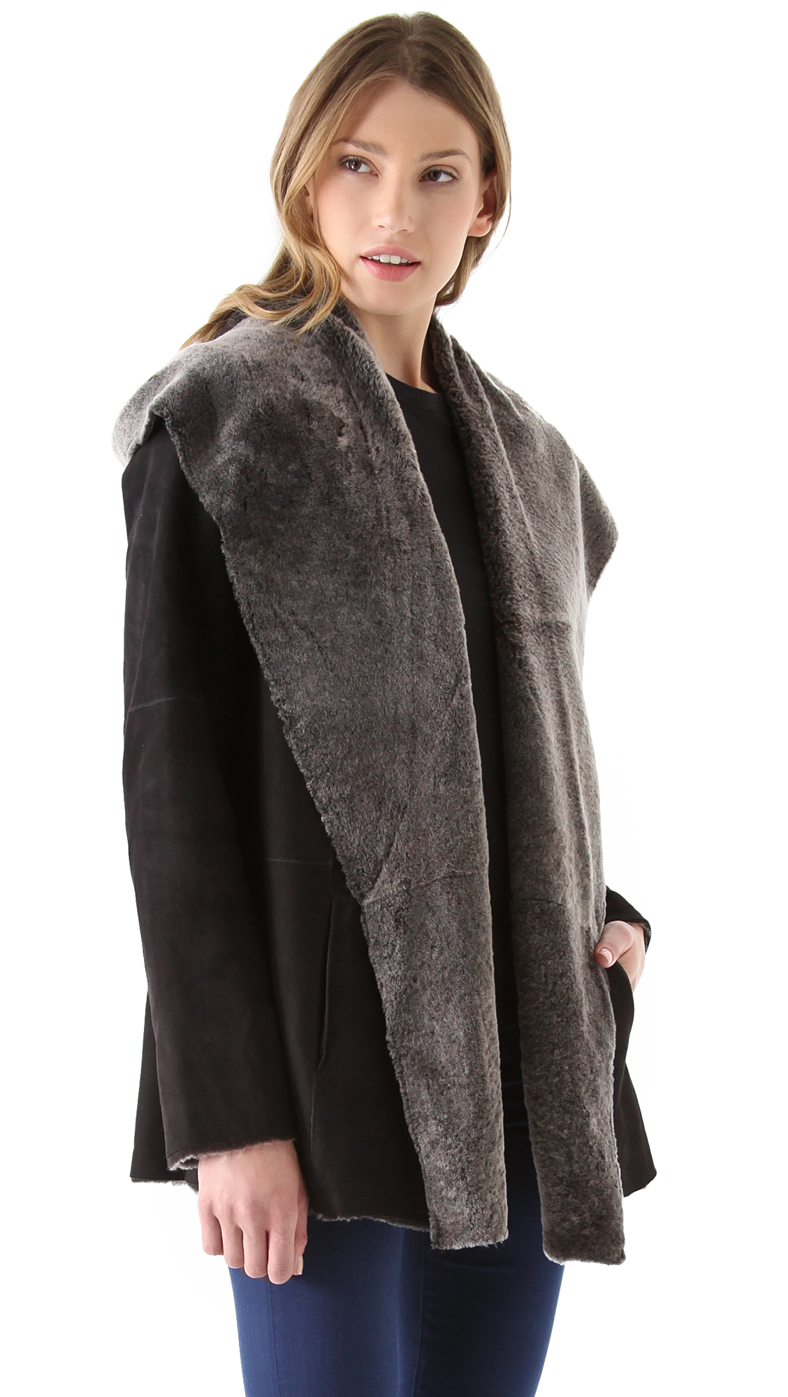 hooded via vince stylst drape fluid coat woman drapes post