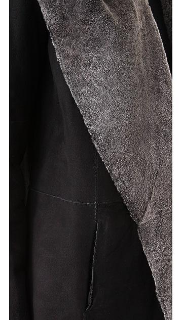 Vince Hooded Shearling Coat
