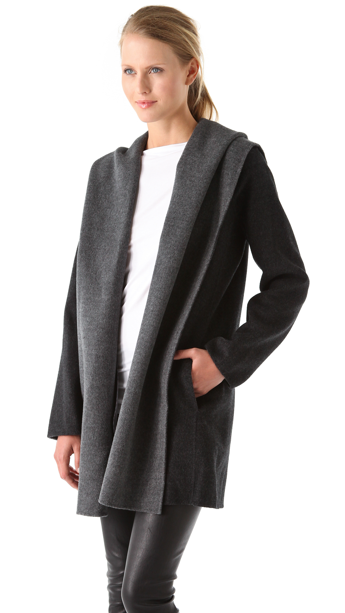 coat be normal hooded with drapes vince inspired gray shearling drape lyst in clothing hood product grey
