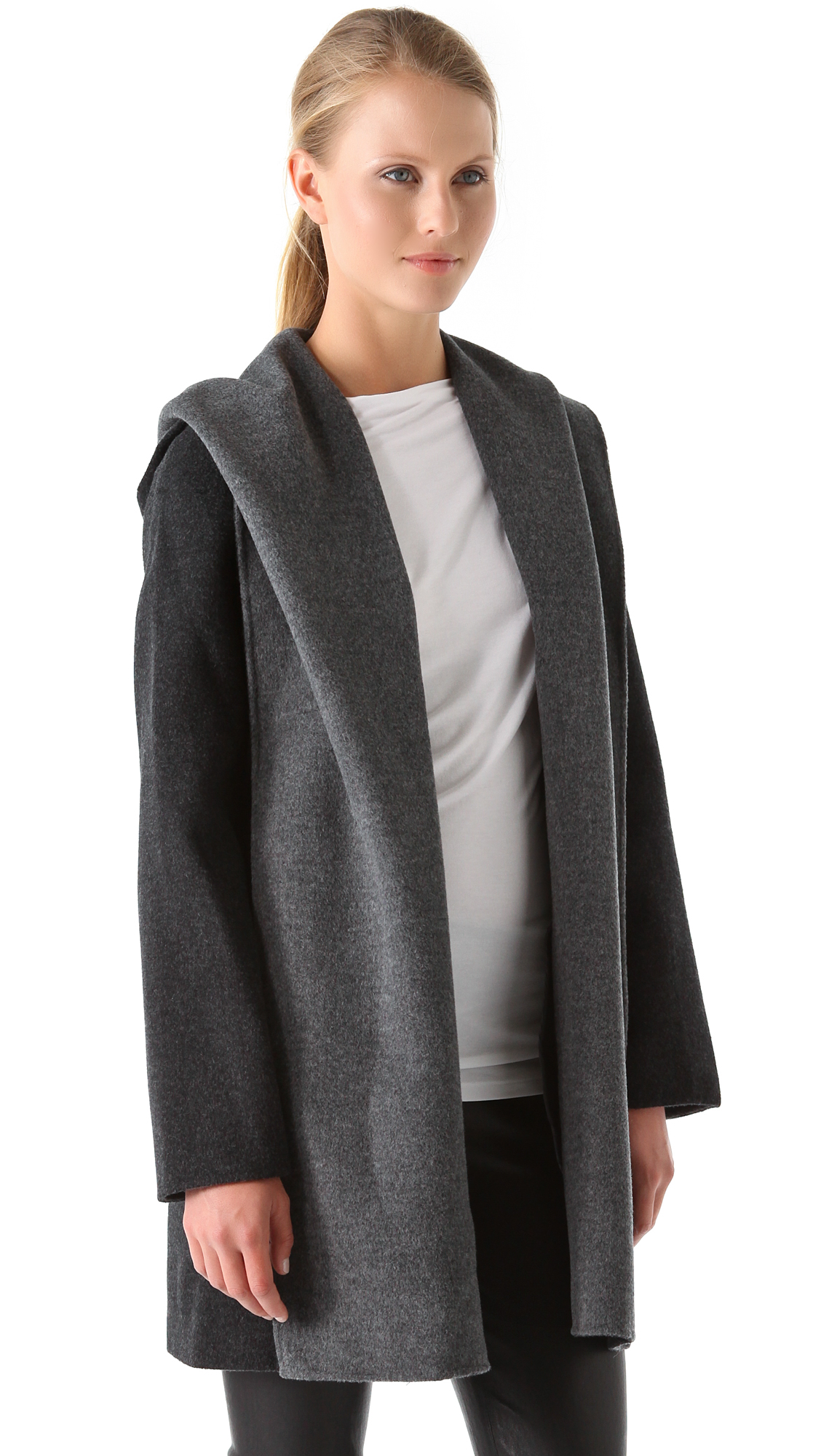 drapes post hooded stylst coat vince woman drape fluid via