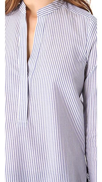 Vince Half Placket Striped Shirt