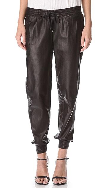 Vince Leather Jogging Pants