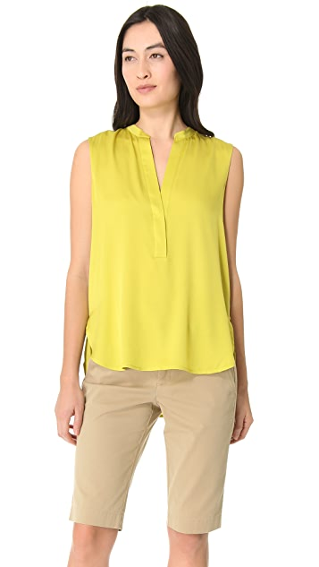 Vince Sleeveless Half Placket Blouse