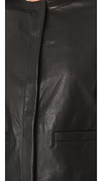 Vince Snap Front Leather Jacket