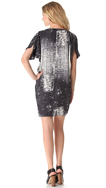 Vince Graffiti Print Drape Dress