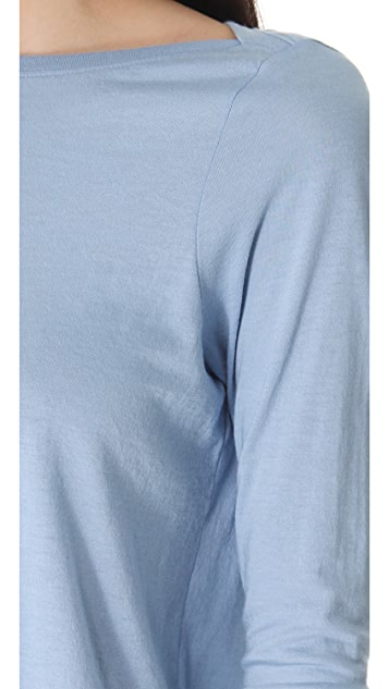 Vince Rib Inset Boat Neck Tee