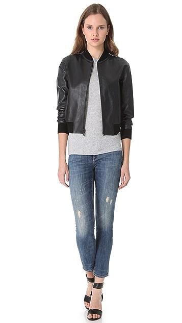 Vince Bi Tone Leather Jacket