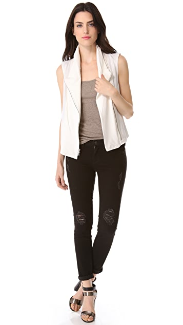 Vince Leather Asymmetrical Vest