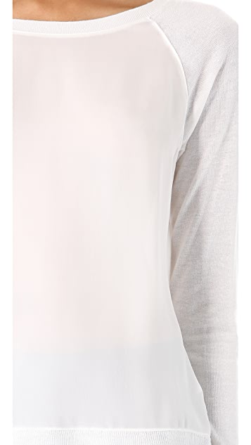 Vince Raglan Silk Trim Sweater