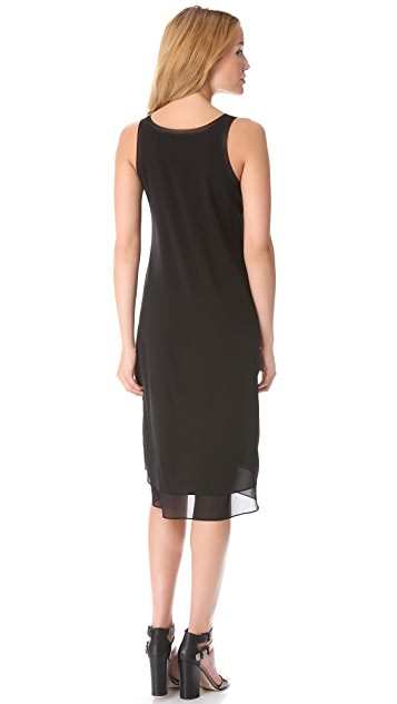 Vince Mixed Media Double Layer Dress