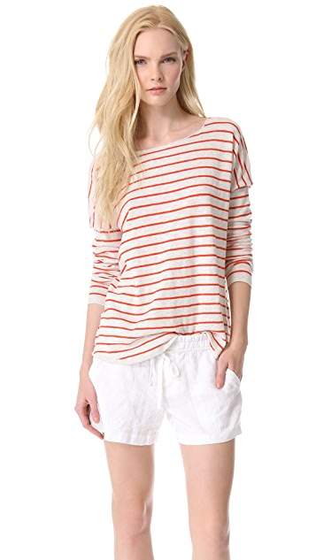 Vince Striped Boat Neck Sweater