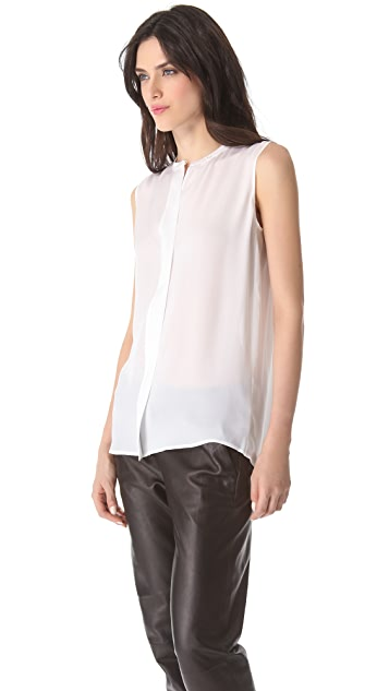 Vince Pleat Back Sleeveless Top
