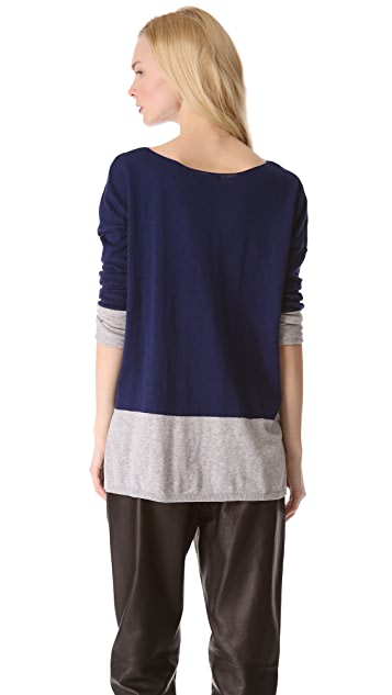 Vince Banded Colorblock Slub Sweater
