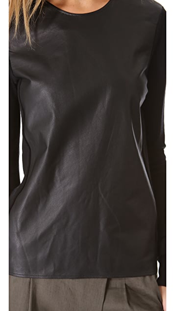 Vince Leather Front Sweater