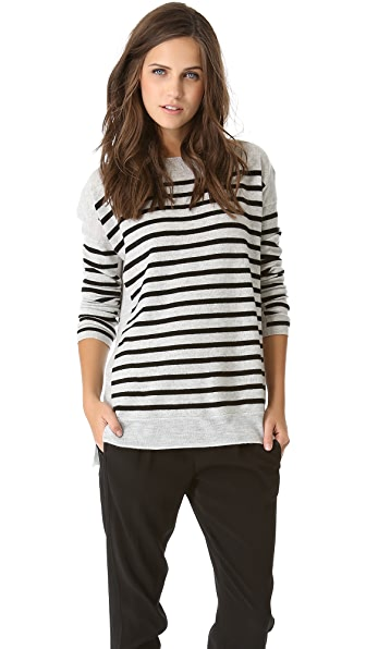Vince Link Stripe Boat Neck Top