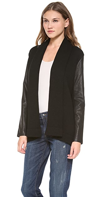 Vince Draped Cardigan with Leather Sleeves