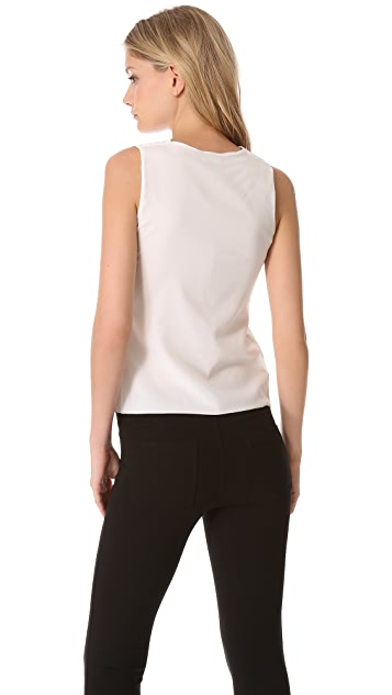Vince Leather & Silk Shell Top