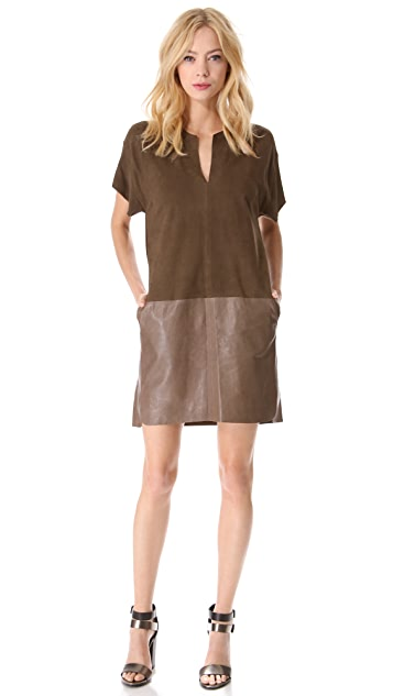 Vince Suede & Leather Dress