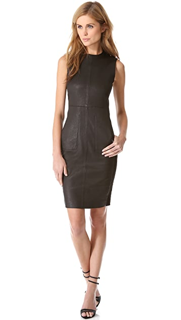 Vince Leather Pencil Dress