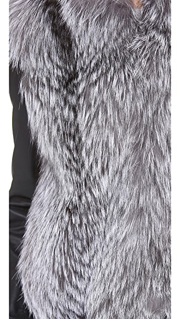 Vince Leather Sleeve Fur Jacket