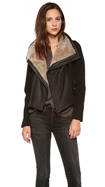Vince Shearling Collar Moto Jacket