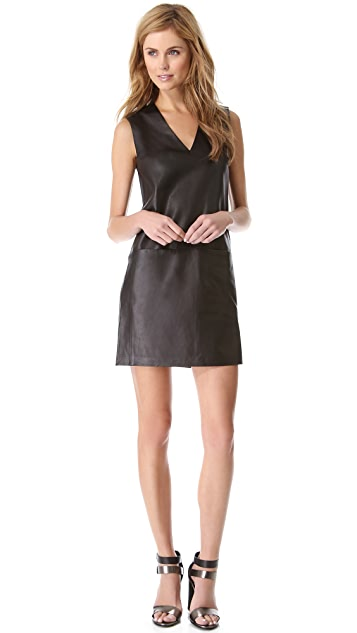 Vince V Neck Leather Dress