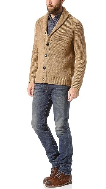 Vince Italian Lux Camel Shawl Collar Cardigan