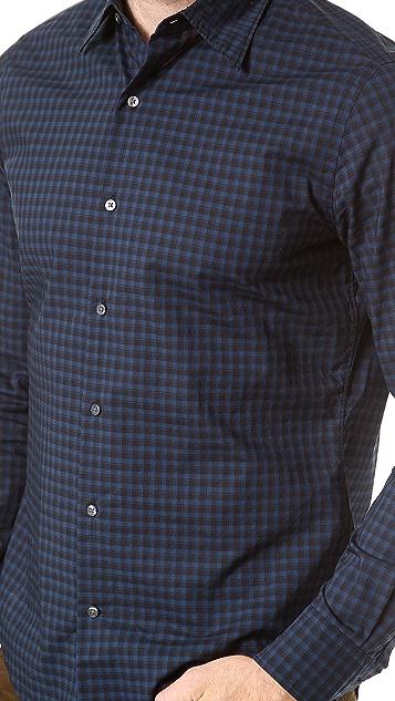 Vince Contrast Plaid Dress Shirt